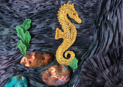 Needlelace Seahorse on Smocked SIlk